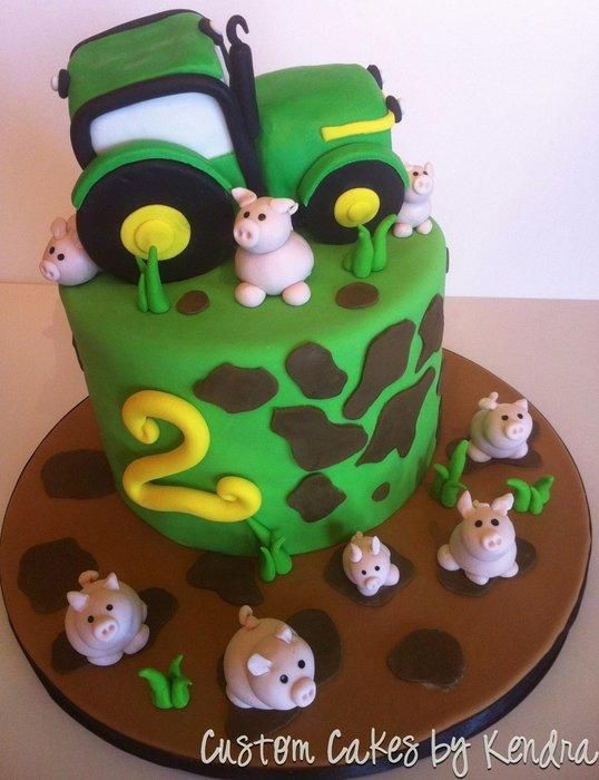 Tractor and Piglets - Cake by Kendra Hicks More