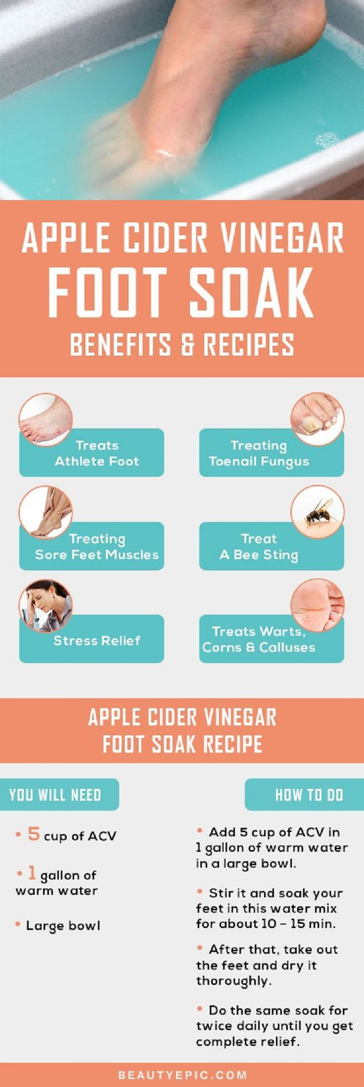 Effective Apple Cider Vinegar Foot Soak - Benefits and Recipes - 16 Recommended Skin Care Routine Tips and DIYs for A Healthy Glow This Summer