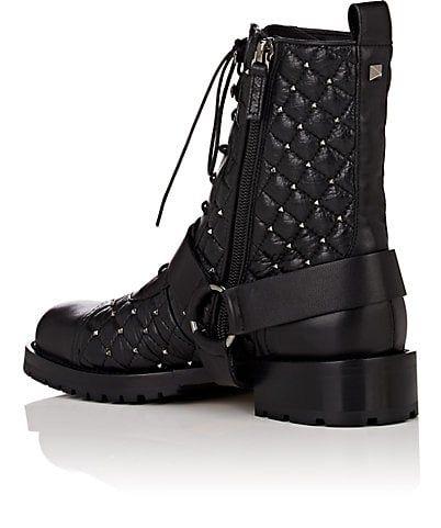 725bc8e488a776 Valentino Garavani Rockstud Spike Leather Combat Boots - Boots - 505375665