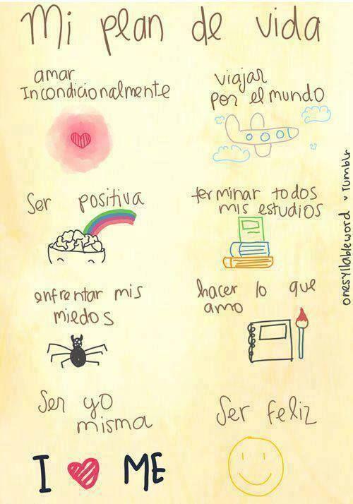 Buenos dias!! Plan de vida!! Amor, felicidad, y positividad! <3