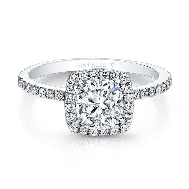 18K White Gold Square Halo Engagement Ring  - FM26921-18W