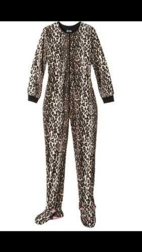 Nick and Nora Leopard footed pajamas womens XL one pc footie fleece ANIMAL NWT