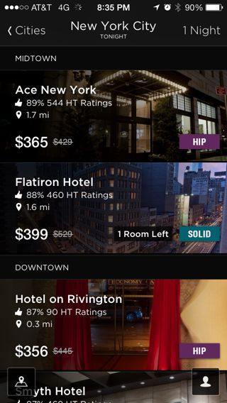 Hotel Tonight iPhone lists, feeds, home screenshot