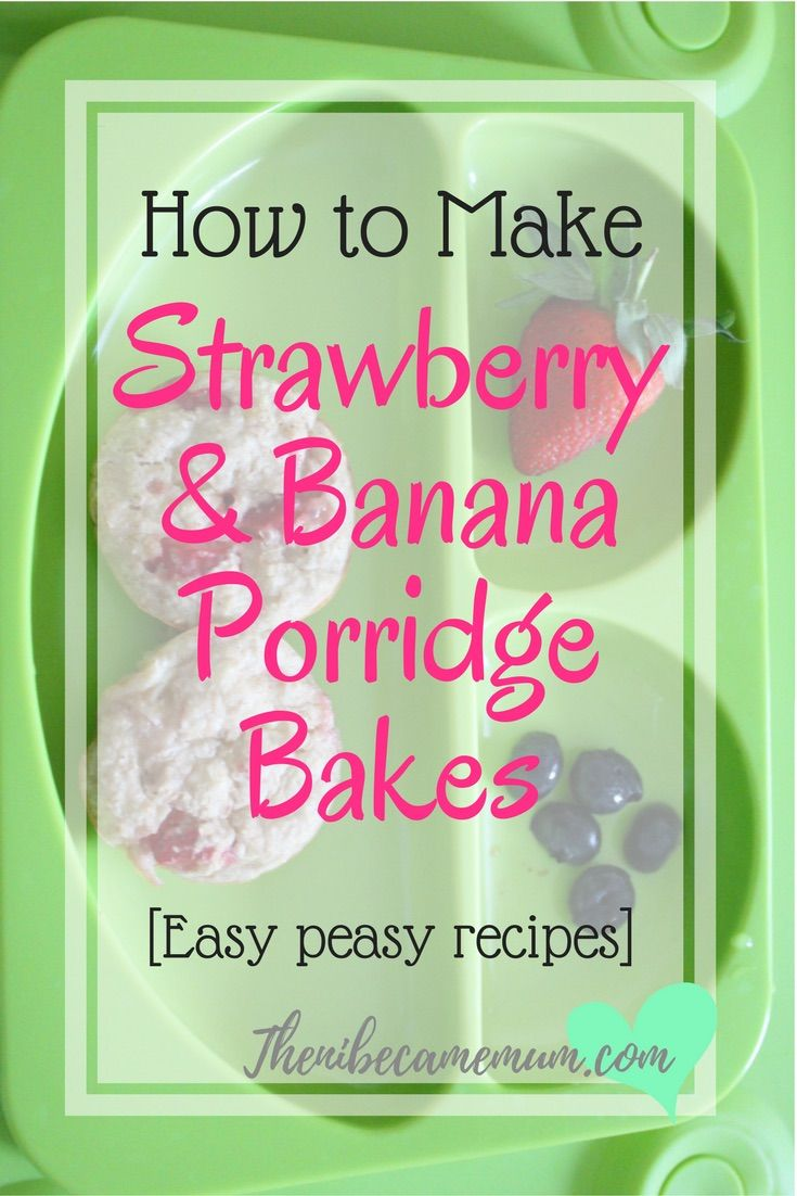 Strawberry and banana porridge bakes are a great alternative for breakfast. Perfect for baby led weaning. Breakfast recipe, weaning, toddler recipe, blw, baby led weaning ideas, egg free recipe