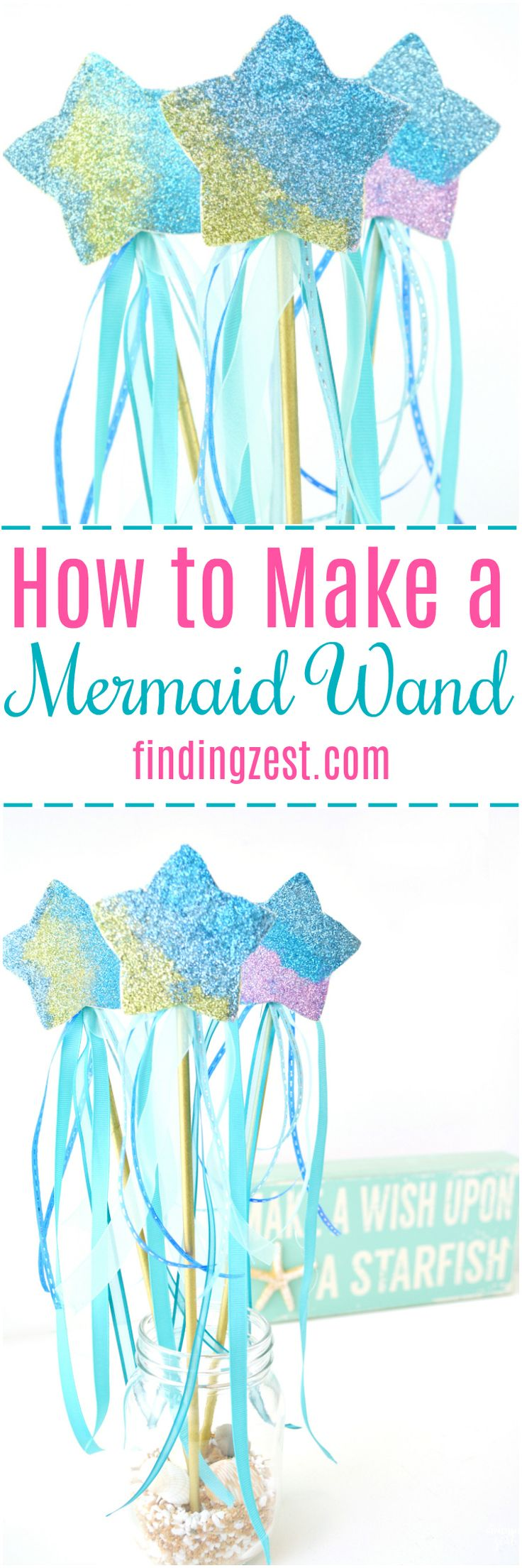 Ever wonder how to make a mermaid wand? These step by step instructions will show you how easy it is to create a magic wand for kids fit for any mermaid fan! Makes for great mermaid birthday party favors or craft activity. Colors can easily be switched out to create a star wand for any princess, fairy or unicorn party. #mermaid #mermaidparty #glitter #kidscraft
