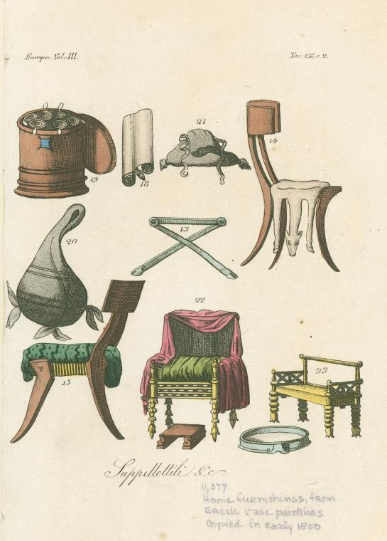 The drawings in the image above represent common greek furniture. What is most interesting to me, are the subtle differences between the two klismos chairs. The chair at the bottom is heavily cushioned and incorporates a pin as part of the joinery. The chair on the top of the image is much simpler, having only animal fur for cushion and mortise tennon joinery.