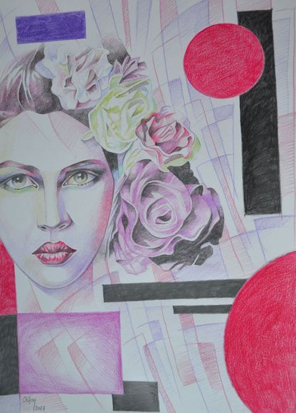 WOMAN WITH ROSES IN GEOMETRIC SPACE