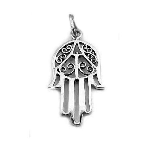 Sterling Silver Islamic Hand of Fatima Hamsa Amulet Pendant