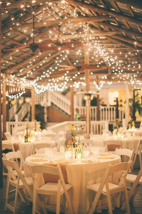 country wedding reception... Burlap for the table runners and Xmas lights all over the pavilion