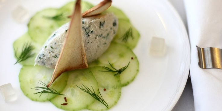 Cucumber and mackerel are a delicious combination. Simon Hulstone's mackerel pâté recipe creates a cucumber pickle that pairs well with the fish
