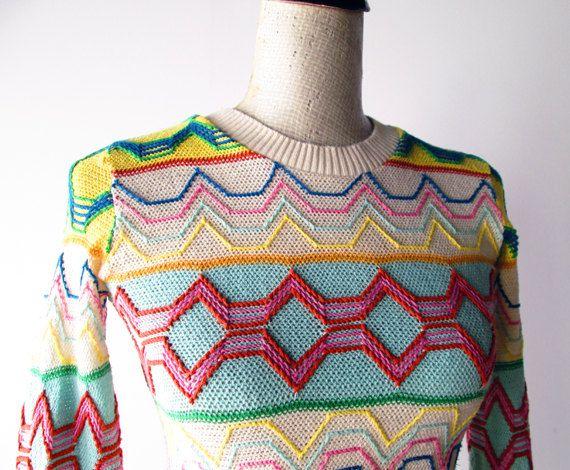 1970s Sweater // Colorful Cotton Zig Zag 1970s Novelty Sweater.. $34.00, via Etsy.