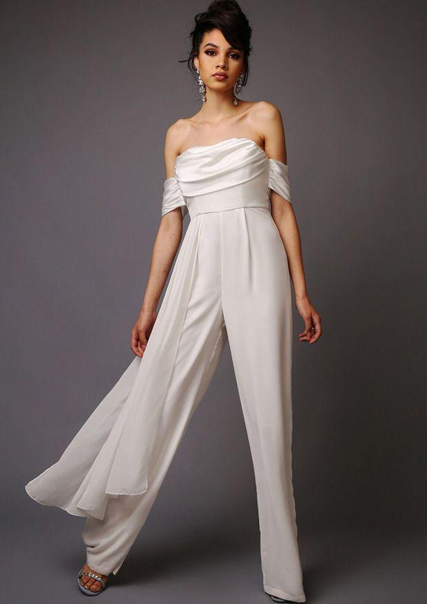 White trouser suit civil partnership wedding dress