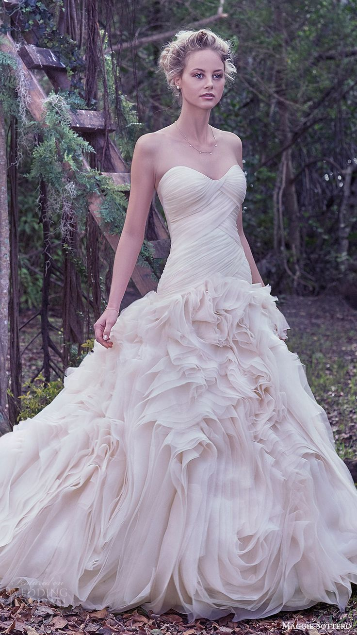 maggie sottero bridal fall 2016 strapless sweetheart ball gown wedding dress (penny) mv flange skirt