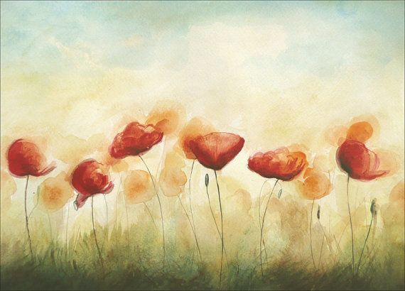 Original Watercolor Painting Red Poppies on Summer by ARTDORA, $49.00