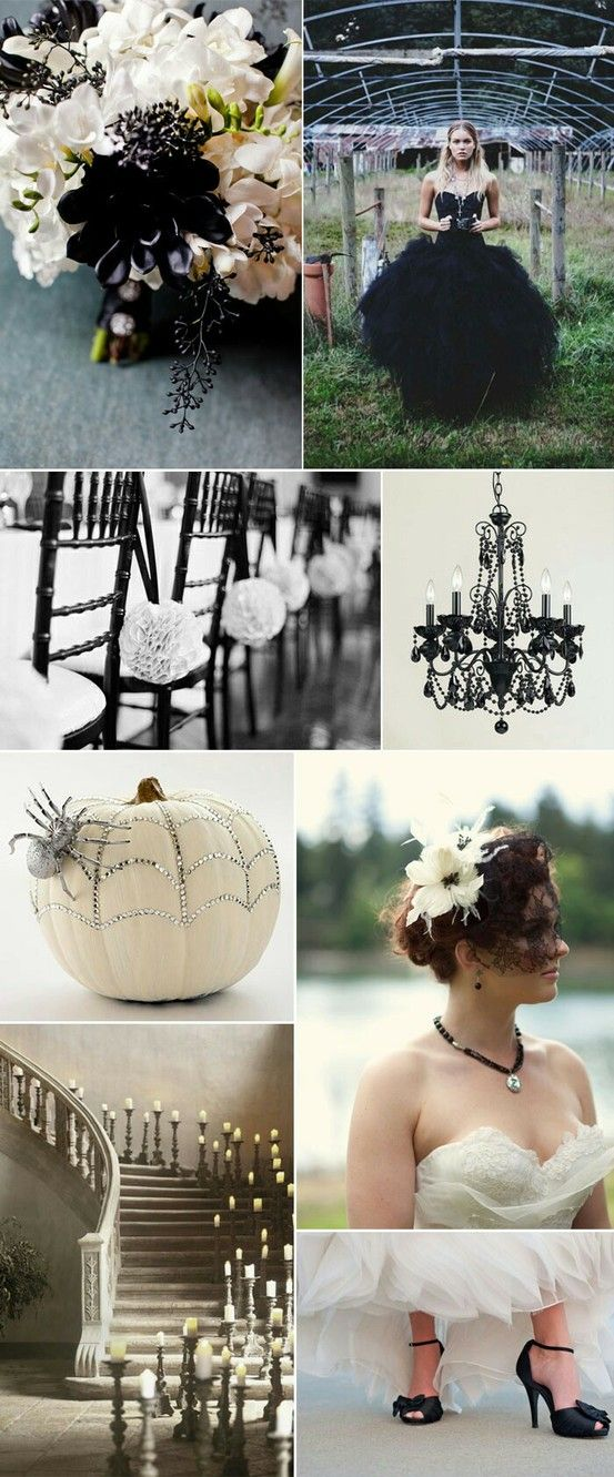 Black wed dress, black chandelier, candlelit staircase, & jeweled spider on the white pumpkin....my kind of wedding!
