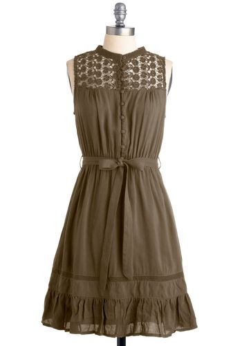 Olive lace neckline dress