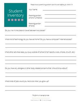 Student-Inventory-Grades-3-5-Editable-1440420 Teaching Resources - TeachersPayTeachers.com