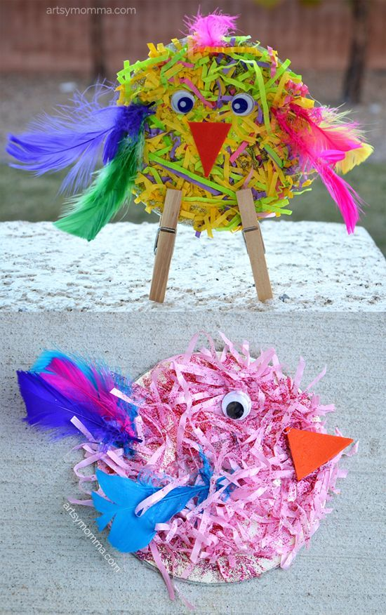 Adorable Shredded Paper CD Birds - make with kids as a part of spring activities!