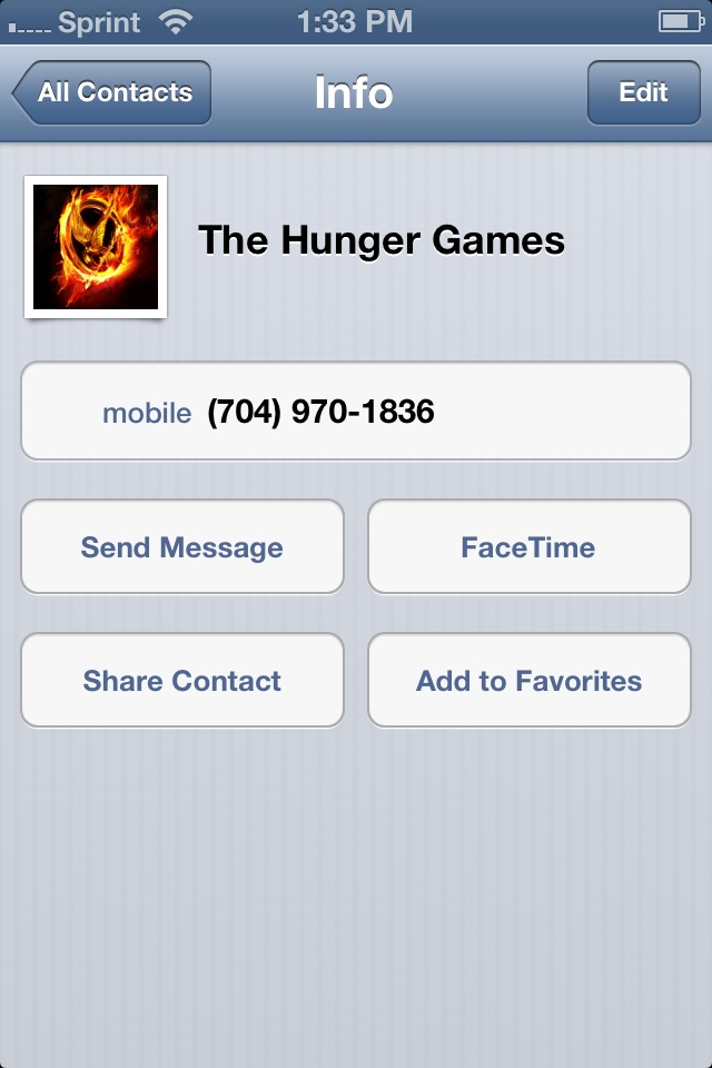 Call this number and it tells you how you would do if you were a tribute in The Hunger Games! Every 24 calls, there is one winner, so keep calling until you win! :D