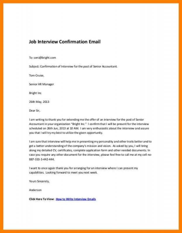 letter samples sample interview confirmation letters