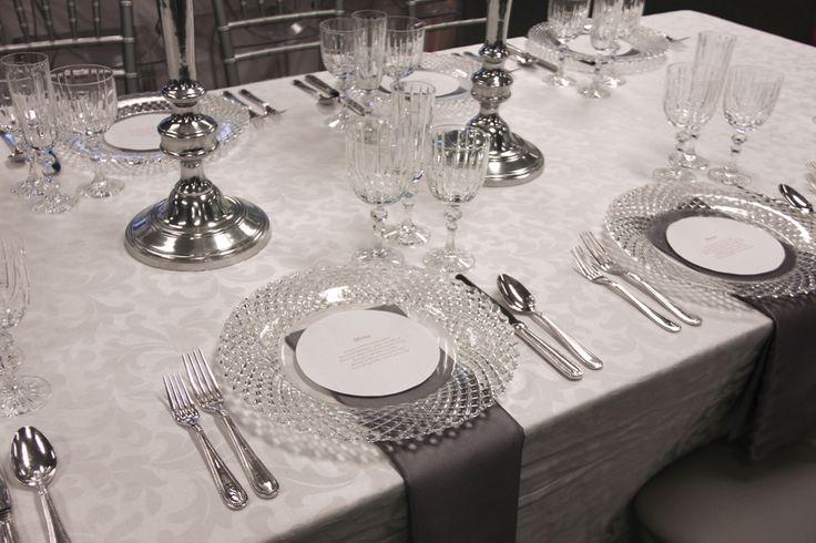 Wedding Scroll Table Linen, Regency Flatware, Cut Crystal Plate Liner, Bellini Grey Satin Napkin & Empire Crystal Glassware | Chair-man Mills Photography by: Debbie Kriz