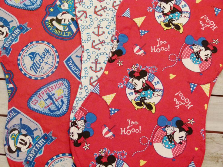 Baby Burp Cloths - Set of 3 - Minnie & Mickey Mouse - Anchors and Nautical Burp Cloths  - Dimple Dot Minky - Gender Neutral Burp Cloth Set by ChristyRaynDesigns on Etsy