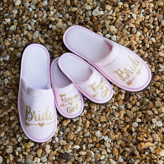 Rose Gold Wedding Personalised Bridal Party Spa Slippers Hen Bride Bridesmaid