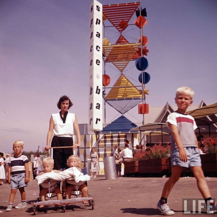 Disneyland opening day 1955. Family outside the Space Bar ...