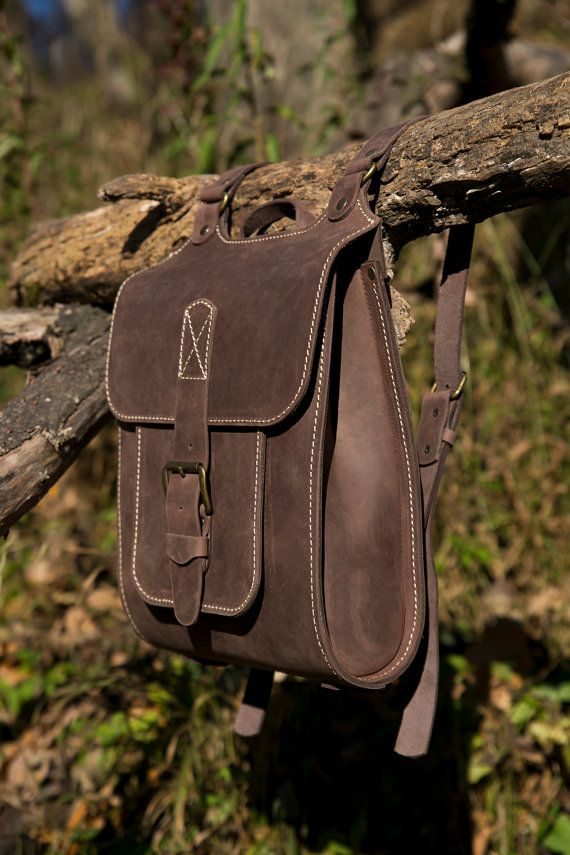 Midle Size backpack For Man Brown Leather Backpack por InBagWeTrust