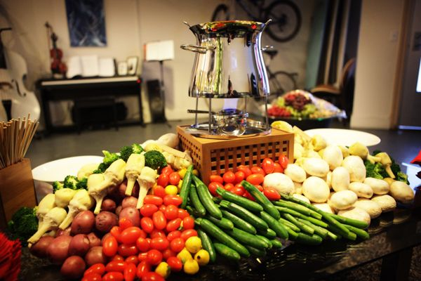 Vegetables and cheese station for fondue party