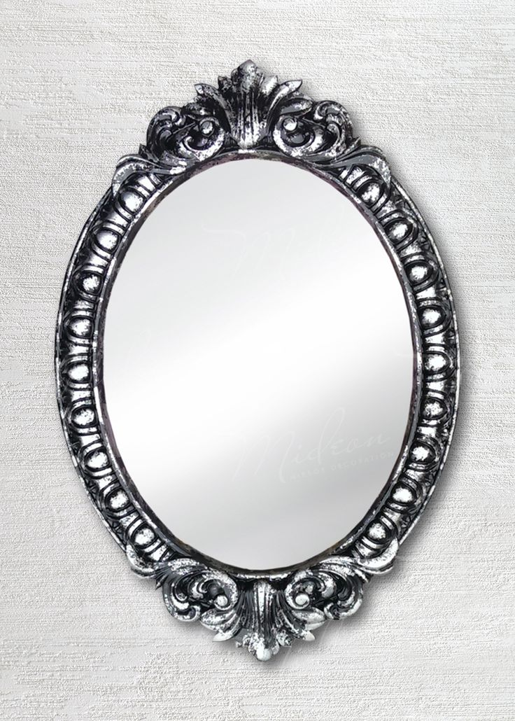 Овальное зеркало в раме «Веницианское» Черное серебро