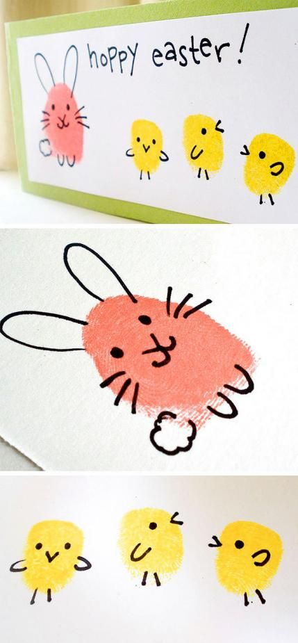 Thumb and Finger print bunnies and chicks.