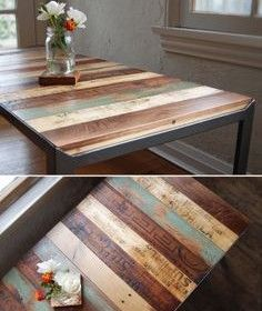 recycled pallets, sanded & finished as a table