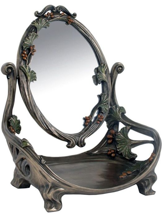 art nouveau miroir 39 ombelles 39 avec plateau maquillage bronze art nouveau beaut. Black Bedroom Furniture Sets. Home Design Ideas