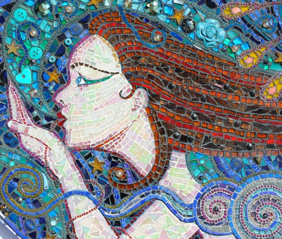 SOLD   mosaic wall art  A Kiss On the wind by Inspirall on Etsy, £431.00