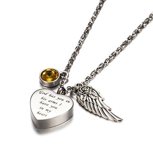God has you in his arms with Angel Wing Charm Cremation Jewelry Keepsake Memorial Urn Necklace with Birthstone crystal by AMIST - http://www.jewelryfashionlife.com/god-has-you-in-his-arms-with-angel-wing-charm-cremation-jewelry-keepsake-memorial-urn-necklace-with-birthstone-crystal-by-amist/