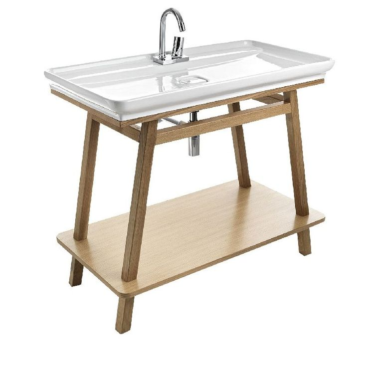 Trapezio Wood Frame Basin Console by Parisi - Just Bathroomware