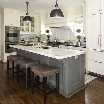 Love the grey island/white granite contrast to white cabinets (Gray  Barstools, Transitional, kitchen, Benjamin Moore White Dove, Martha O'Hara  Interiors)