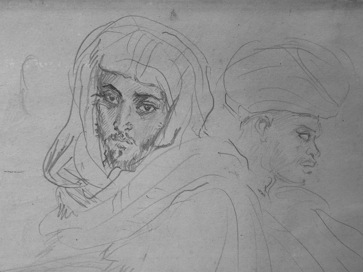 CHASSERIAU Théodore,1846 - Deux Arabes assis - drawing - Détail 02