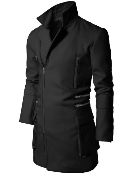 Amazon.com: Doublju Mens Casual Zipup Slim Coat: Clothing