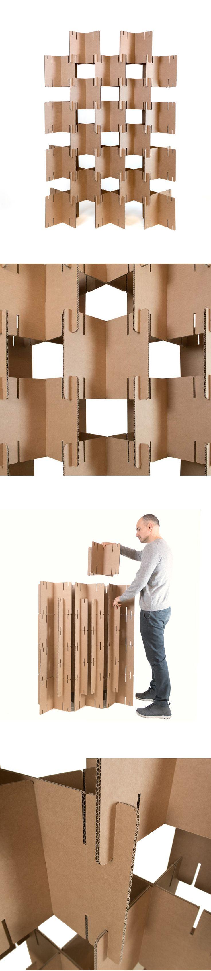 Biombo de cart n modular furniture cardboard muebles - Biombo de carton ...
