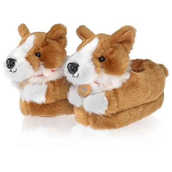 Buckingham Palace Corgi Slippers - Corgi - Gifts Royal Collection... (14 CAD) ❤ liked on Polyvore featuring shoes and slippers