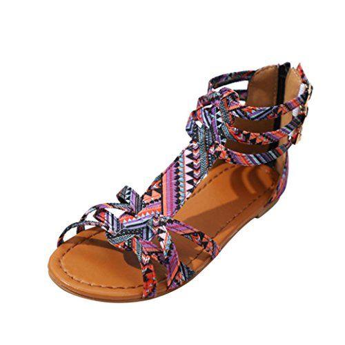 De Jiangfu Sandales Femme Plat Bohème Mode Été Chaussures TiuOXPkZ