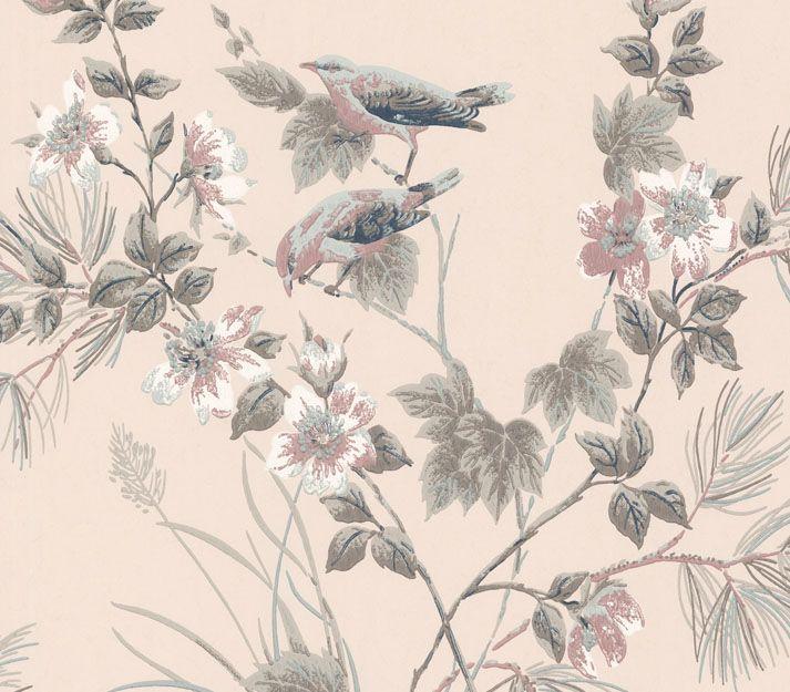 Rosemore Wallpaper Pink Floral Wallpaper Dusky Pink Wallpaper