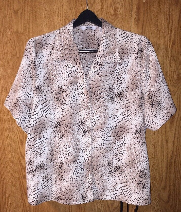e5811bbb597 ALIA Petite Size 18 Blouse Short sleeve Crinkle White   Brown Button Front  Top