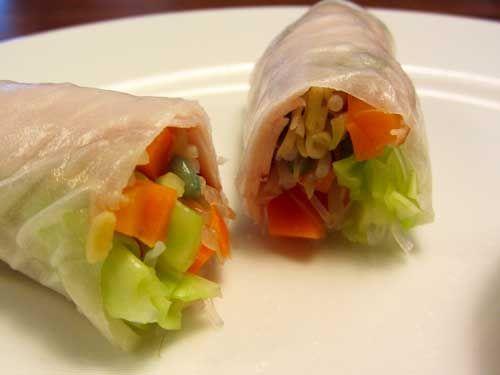 Groenterolletjes - rijstpapier