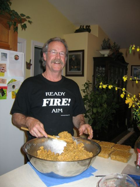 "Brigitte took these photos of me making suet last night Here in northern California it can get really hot in July and August.  We're talking sometimes over 115 degrees!  So I began making my own ""no melt suet"" and the birds absolutely LOVE it! Sure I have put out the store bought stuff and they"
