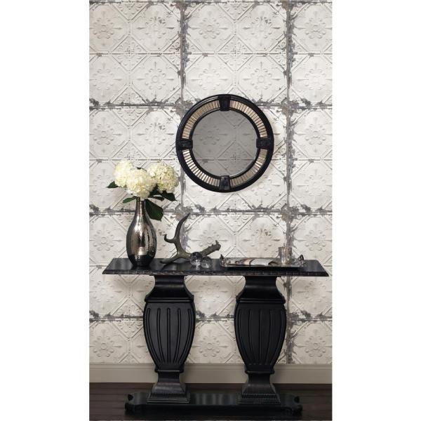 NuWallpaper Vintage Tin Tile Peel and Stick White & Off ...