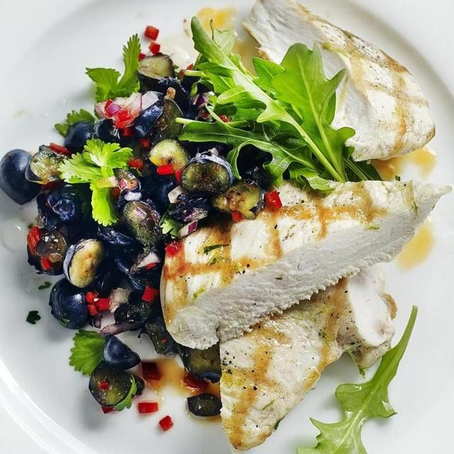 CHARGRILLED CHICKEN WITH BLUEBERRY SALSA, a delicious recipe from the new Cook with M&S app.