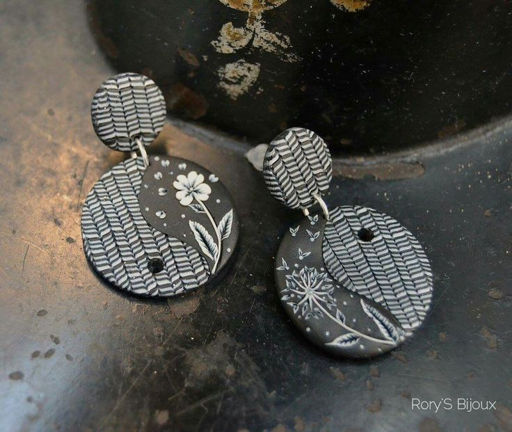 POSITIVITY polymer clay earrings by Rory's Bijoux
